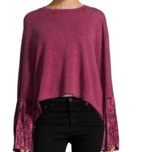 NWT Free People Velvet Bell Sleeve Sweatshirt